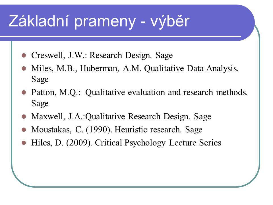 Základní prameny - výběr Creswell, J.W.: Research Design. Sage Miles, M.B., Huberman, A.M. Qualitative Data Analysis. Sage Patton, M.Q.: Qualitative e