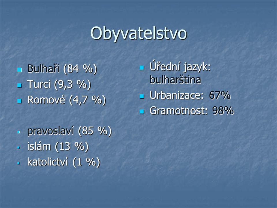 Obyvatelstvo Bulhaři (84 %) Bulhaři (84 %) Turci (9,3 %) Turci (9,3 %) Romové (4,7 %) Romové (4,7 %)  pravoslaví (85 %)  islám (13 %)  katolictví (