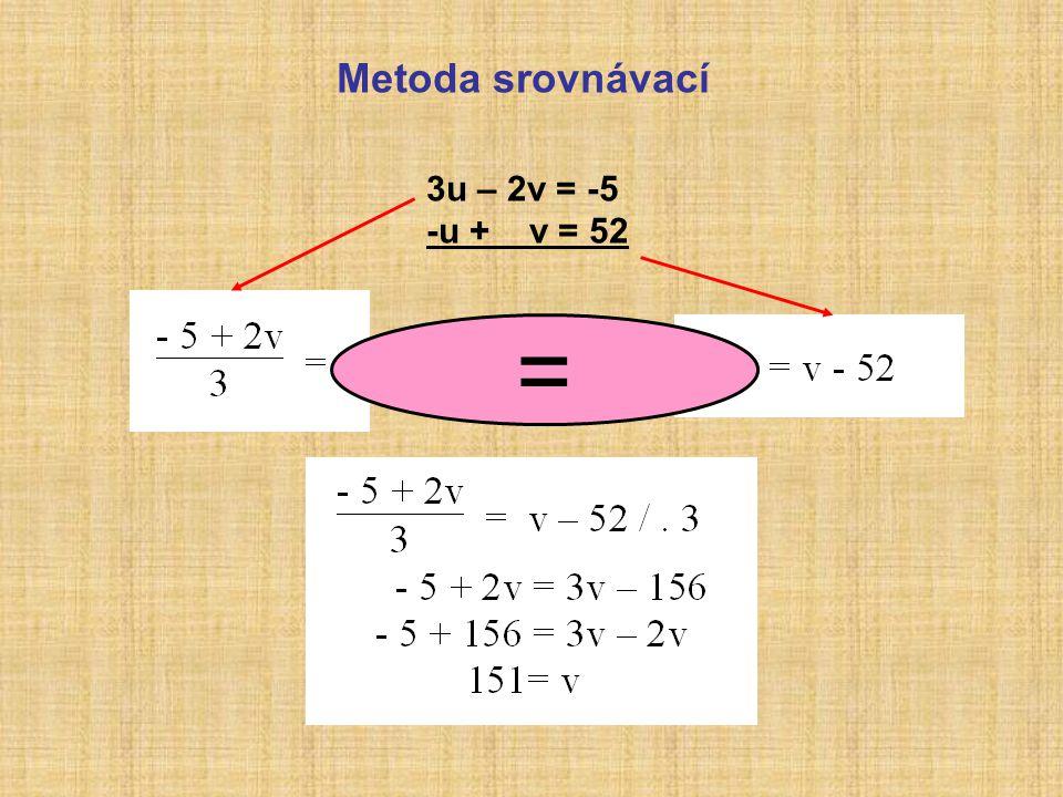 Metoda srovnávací 3u – 2v = -5 -u + v = 52 =