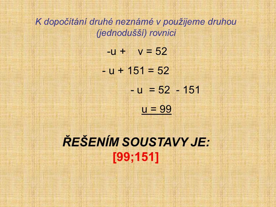 K dopočítání druhé neznámé v použijeme druhou (jednodušší) rovnici -u + v = 52 - u + 151 = 52 - u = 52 - 151 u = 99 ŘEŠENÍM SOUSTAVY JE: [99;151]