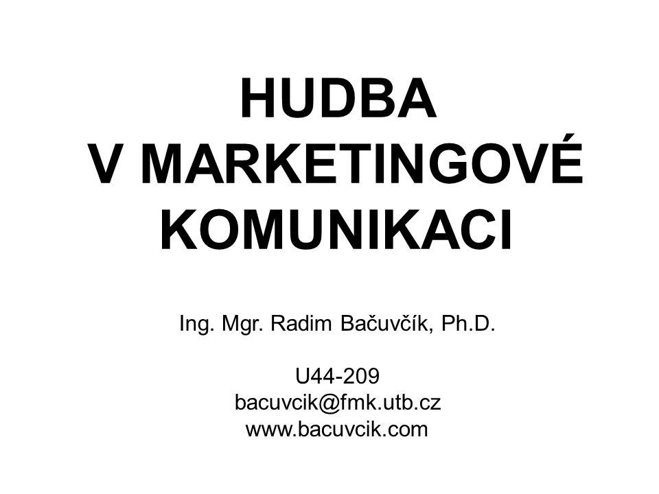 HUDBA V MARKETINGOVÉ KOMUNIKACI Ing. Mgr. Radim Bačuvčík, Ph.D. U44-209 bacuvcik@fmk.utb.cz www.bacuvcik.com