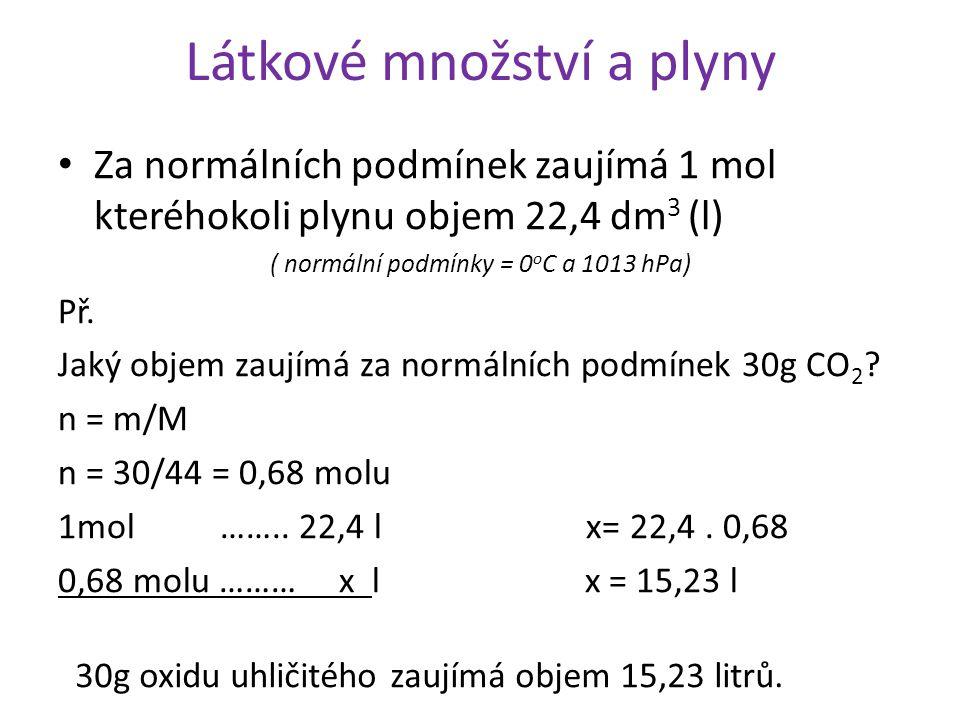 Látkové množství a plyny Za normálních podmínek zaujímá 1 mol kteréhokoli plynu objem 22,4 dm 3 (l) ( normální podmínky = 0 o C a 1013 hPa) Př. Jaký o