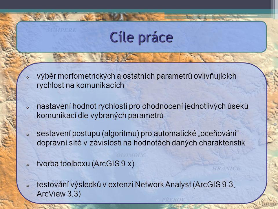 """výběr morfometrických a ostatních parametrů ovlivňujících rychlost na komunikacích nastavení hodnot rychlostí pro ohodnocení jednotlivých úseků komunikací dle vybraných parametrů sestavení postupu (algoritmu) pro automatické """"oceňování dopravní sítě v závislosti na hodnotách daných charakteristik tvorba toolboxu (ArcGIS 9.x) testování výsledků v extenzi Network Analyst (ArcGIS 9.3, ArcView 3.3) Cíle práce"""