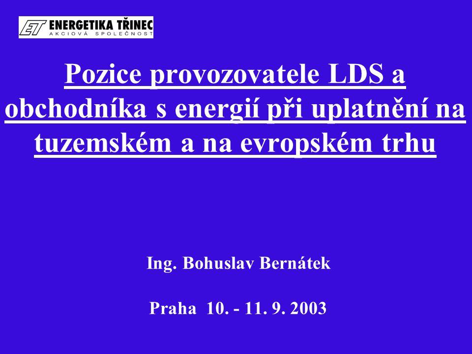 Pozice provozovatele LDS a obchodníka s energií při uplatnění na tuzemském a na evropském trhu Ing.