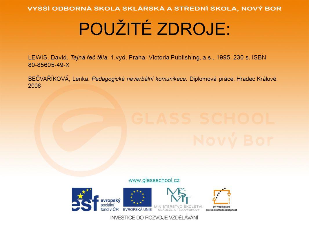 POUŽITÉ ZDROJE: www.glassschool.cz LEWIS, David. Tajná řeč těla. 1.vyd. Praha: Victoria Publishing, a.s., 1995. 230 s. ISBN 80-85605-49-X BEČVAŘÍKOVÁ,
