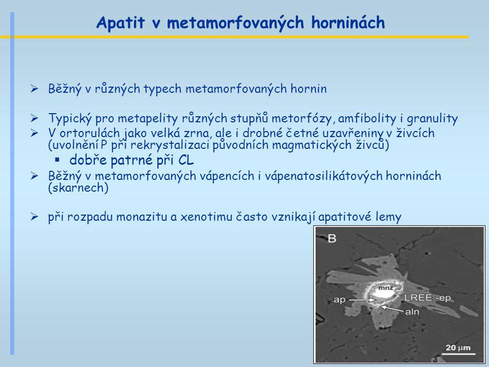 Apatit v metamorfovaných horninách  Běžný v různých typech metamorfovaných hornin  Typický pro metapelity různých stupňů metorfózy, amfibolity i gra