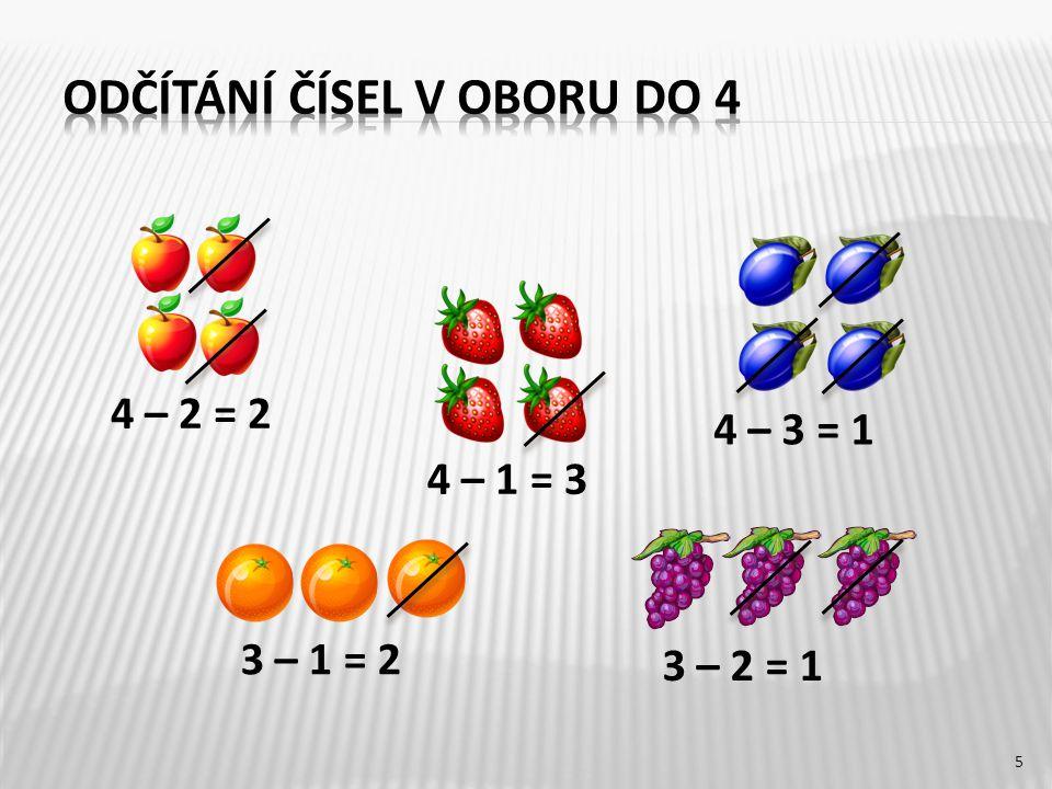 4 – 1 = 3 3 – 2 = 1 3 – 1 = 2 4 – 3 = 1 5