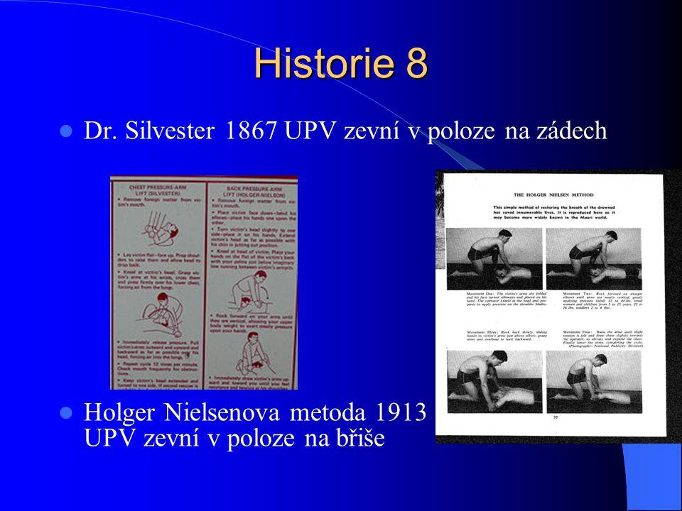 Historie 8 Dr. Silvester 1867 UPV zevní v poloze na zádech Holger Nielsenova metoda 1913 UPV zevní v poloze na břiše
