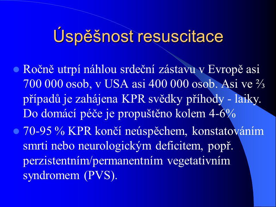 Úspěšnost resuscitace Ročně utrpí náhlou srdeční zástavu v Evropě asi 700 000 osob, v USA asi 400 000 osob. Asi ve ⅔ případů je zahájena KPR svědky př