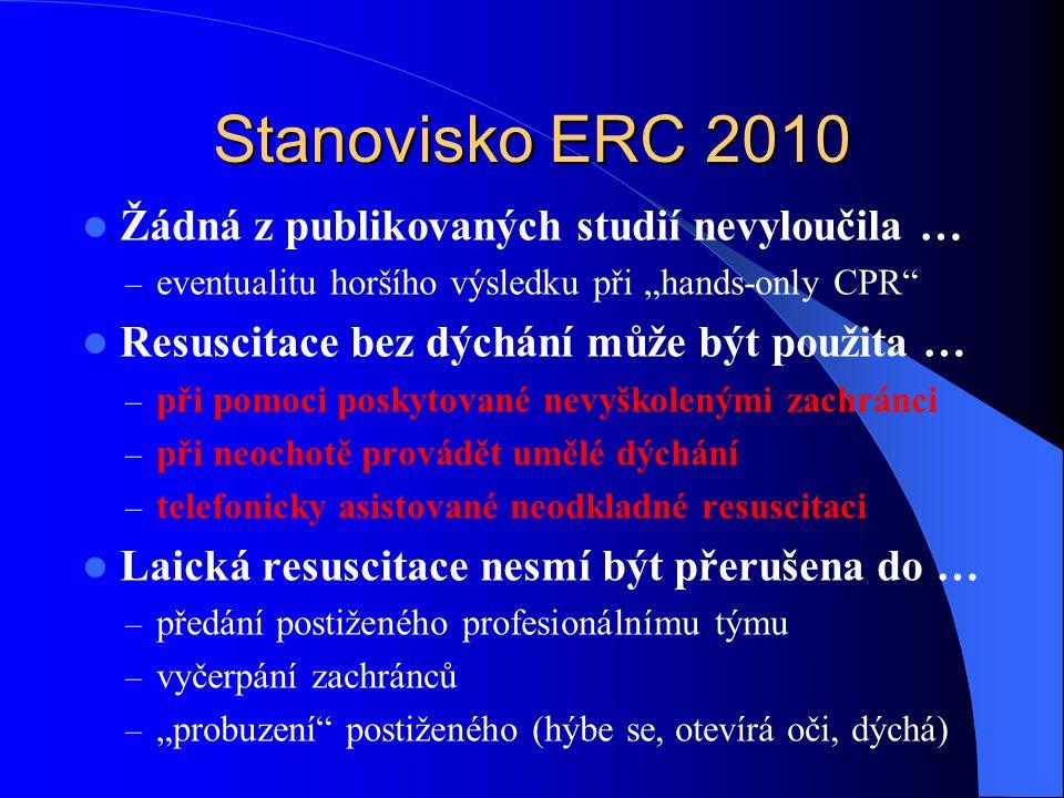 """Stanovisko ERC 2010 Žádná z publikovaných studií nevyloučila … – eventualitu horšího výsledku při """"hands-only CPR"""" Resuscitace bez dýchání může být po"""