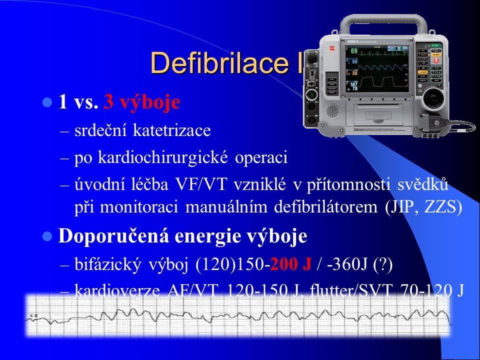 Defibrilace IV. 1 vs. 3 výboje – srdeční katetrizace – po kardiochirurgické operaci – úvodní léčba VF/VT vzniklé v přítomnosti svědků při monitoraci m