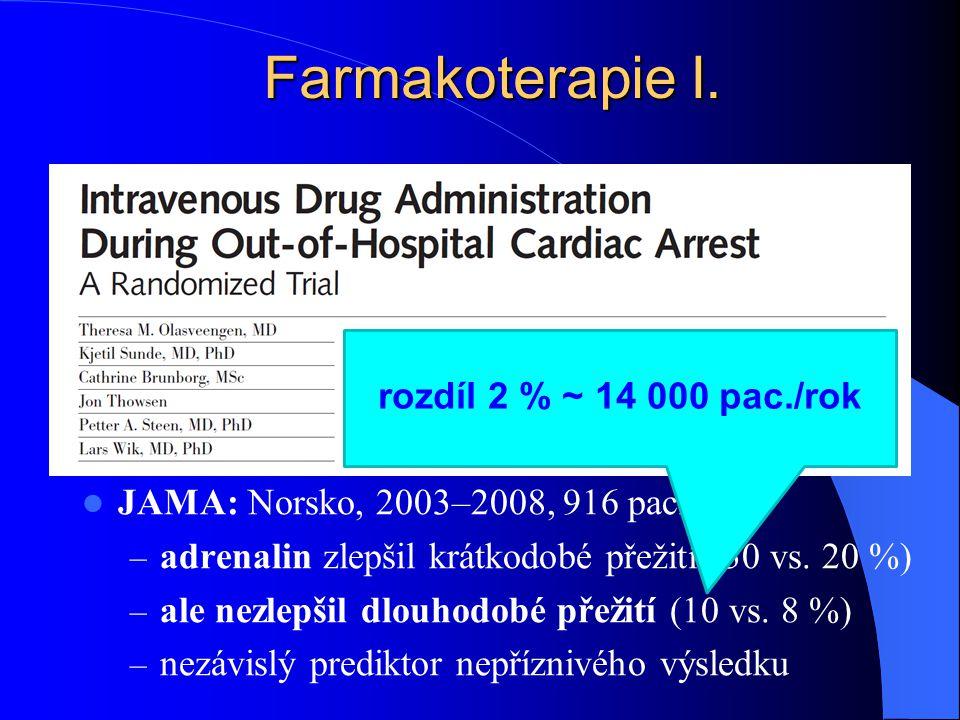 Farmakoterapie I. JAMA: Norsko, 2003–2008, 916 pacientů – adrenalin zlepšil krátkodobé přežití (30 vs. 20 %) – ale nezlepšil dlouhodobé přežití (10 vs