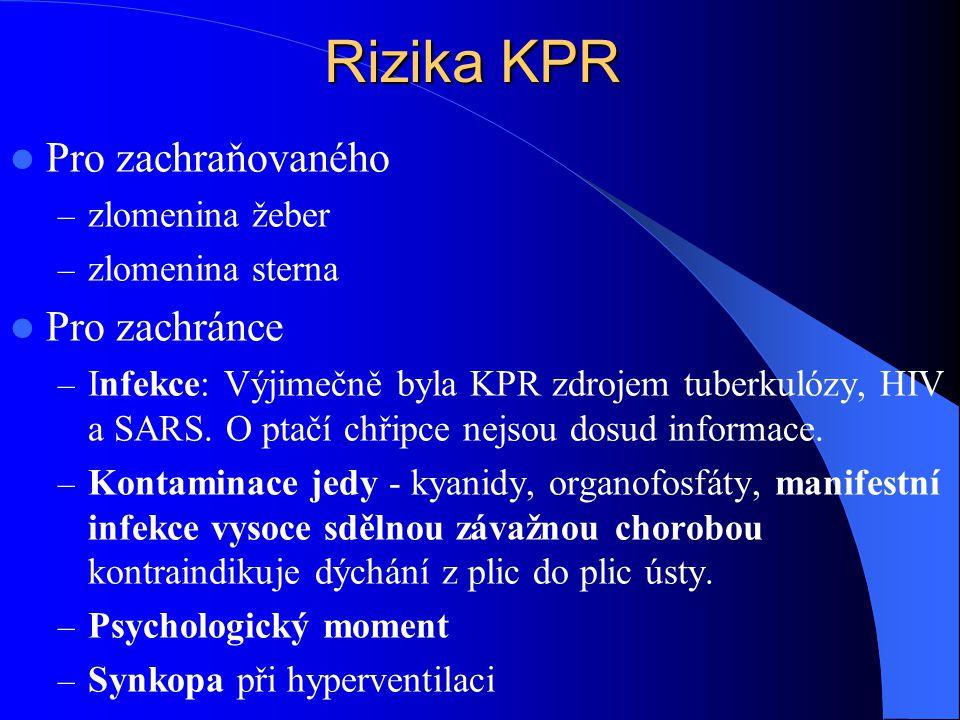 Rizika KPR Pro zachraňovaného – zlomenina žeber – zlomenina sterna Pro zachránce – Infekce: Výjimečně byla KPR zdrojem tuberkulózy, HIV a SARS. O ptač