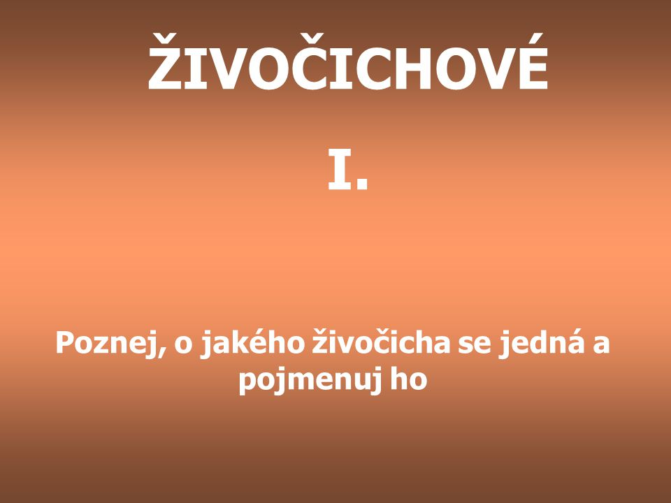 ŽIVOČICHOVÉ I. Poznej, o jakého živočicha se jedná a pojmenuj ho