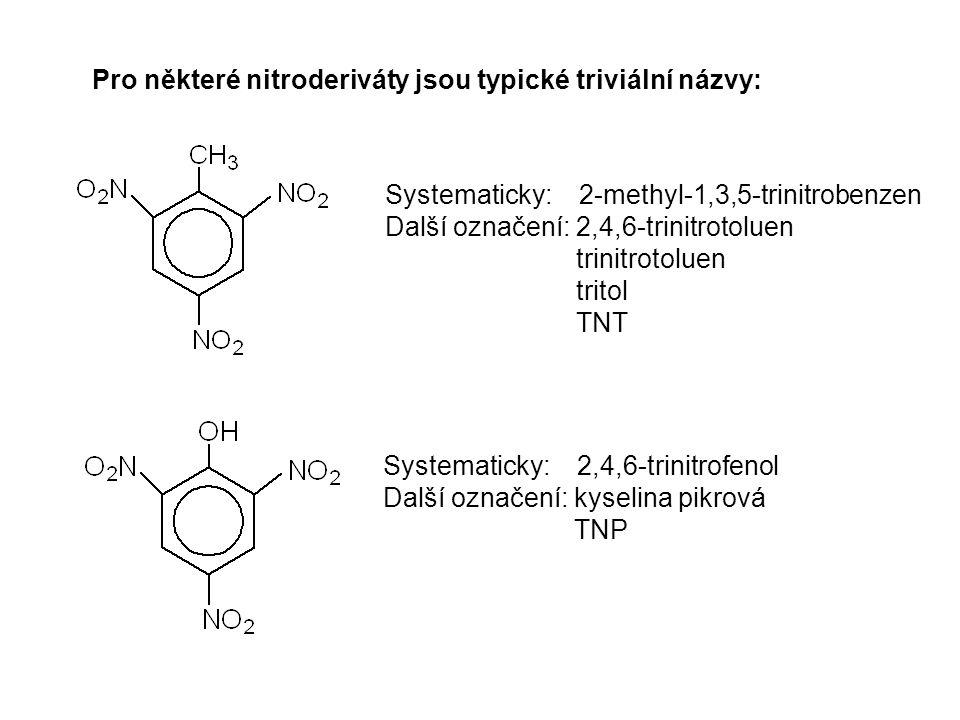Pro některé nitroderiváty jsou typické triviální názvy: Systematicky: 2-methyl-1,3,5-trinitrobenzen Další označení: 2,4,6-trinitrotoluen trinitrotolue