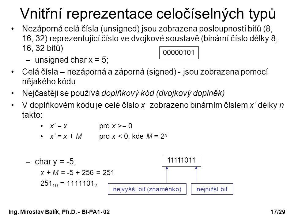 Ing. Miroslav Balík, Ph.D. - BI-PA1- 0217/29 Vnitřní reprezentace celočíselných typů Nezáporná celá čísla (unsigned) jsou zobrazena posloupností bitů