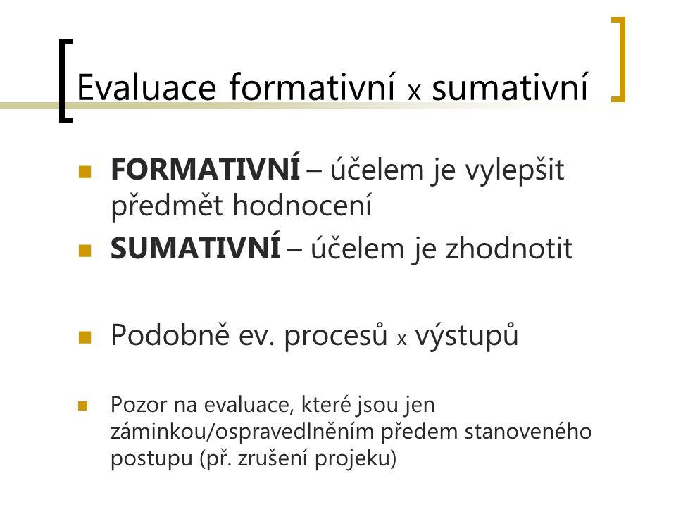 Evaluace formativní x sumativní FORMATIVNÍ – účelem je vylepšit předmět hodnocení SUMATIVNÍ – účelem je zhodnotit Podobně ev. procesů x výstupů Pozor