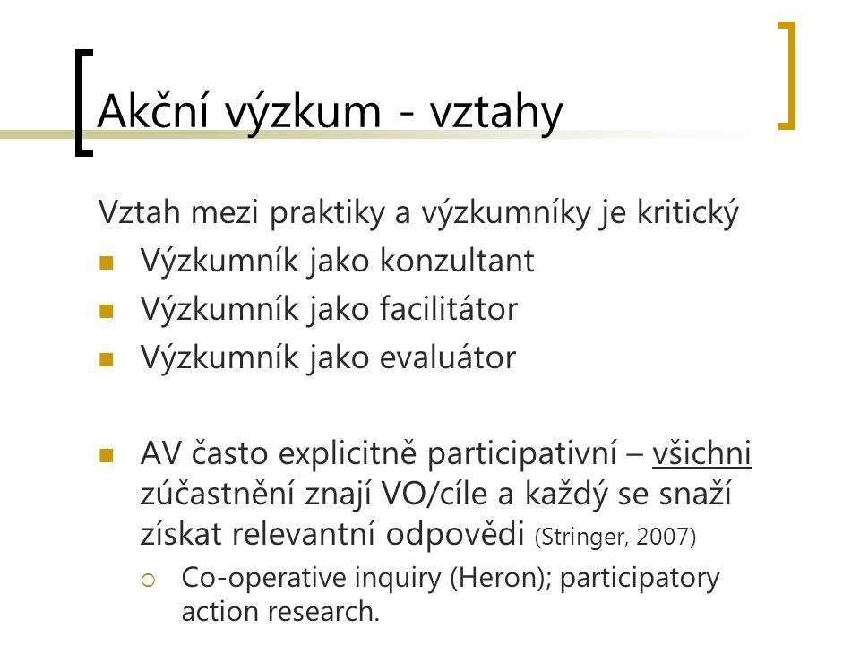 Akční výzkum - vztahy Vztah mezi praktiky a výzkumníky je kritický Výzkumník jako konzultant Výzkumník jako facilitátor Výzkumník jako evaluátor AV často explicitně participativní – všichni zúčastnění znají VO/cíle a každý se snaží získat relevantní odpovědi (Stringer, 2007)  Co-operative inquiry (Heron); participatory action research.