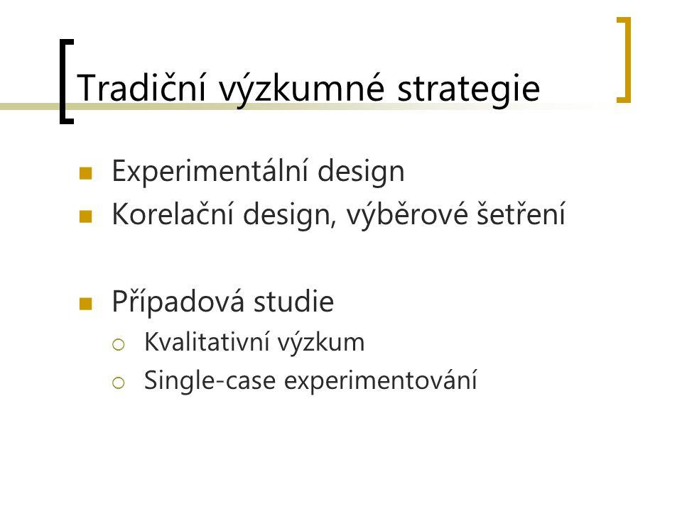 Tradiční výzkumné strategie Experimentální design Korelační design, výběrové šetření Případová studie  Kvalitativní výzkum  Single-case experimentov