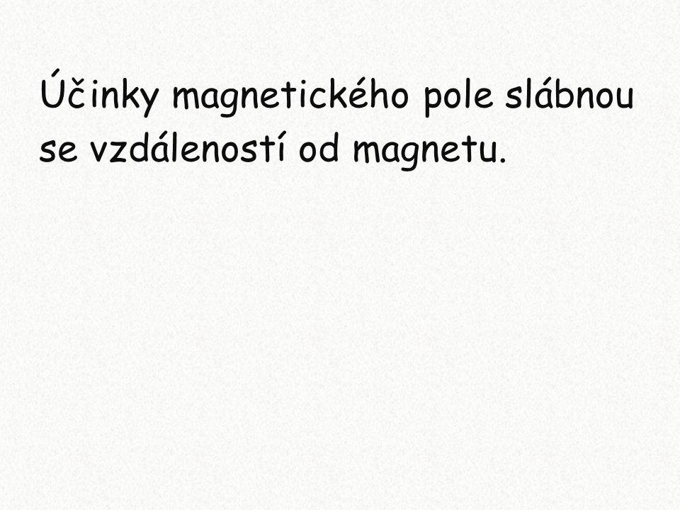Účinky magnetického pole slábnou se vzdáleností od magnetu.