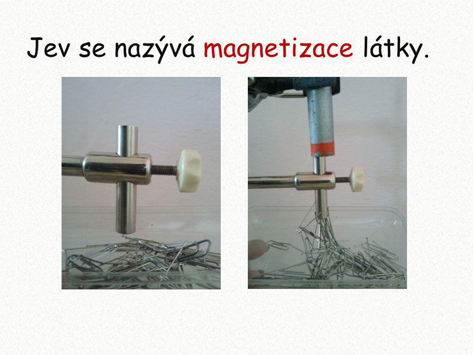 Zápis: Těleso z feromagnetické látky se v magnetickém poli zmagnetuje, stává se magnetem.