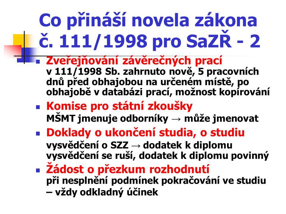 Co přináší novela zákona č. 111/1998 pro SaZŘ - 2 Zveřejňování závěrečných prací v 111/1998 Sb.
