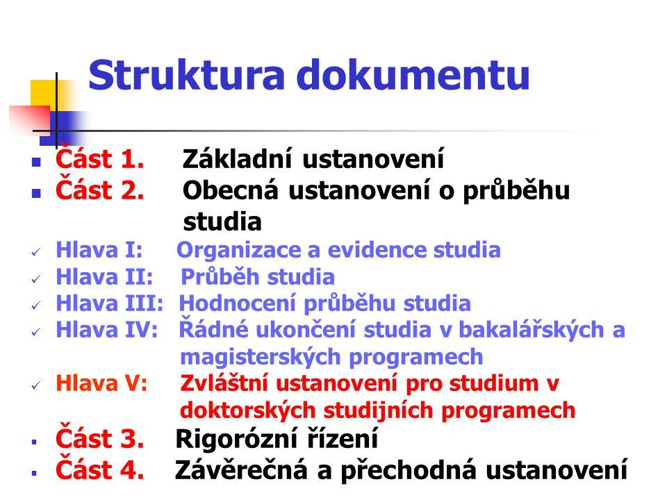 Struktura dokumentu Část 1. Základní ustanovení Část 2.