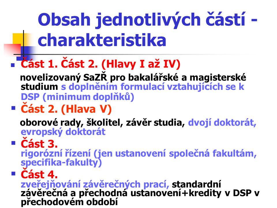 Obsah jednotlivých částí - charakteristika Část 1.