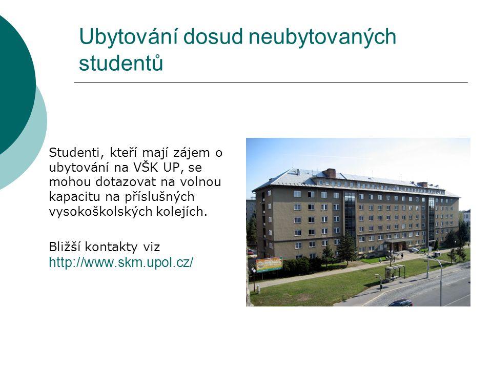 Ubytování dosud neubytovaných studentů Studenti, kteří mají zájem o ubytování na VŠK UP, se mohou dotazovat na volnou kapacitu na příslušných vysokoškolských kolejích.