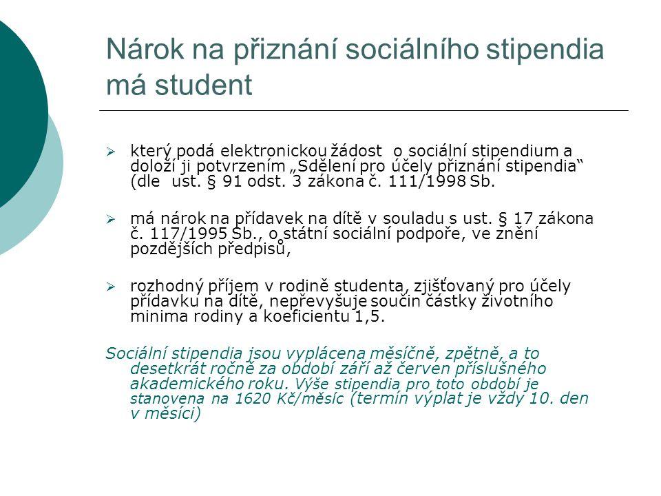 """Nárok na přiznání sociálního stipendia má student  který podá elektronickou žádost o sociální stipendium a doloží ji potvrzením """"Sdělení pro účely přiznání stipendia (dle ust."""