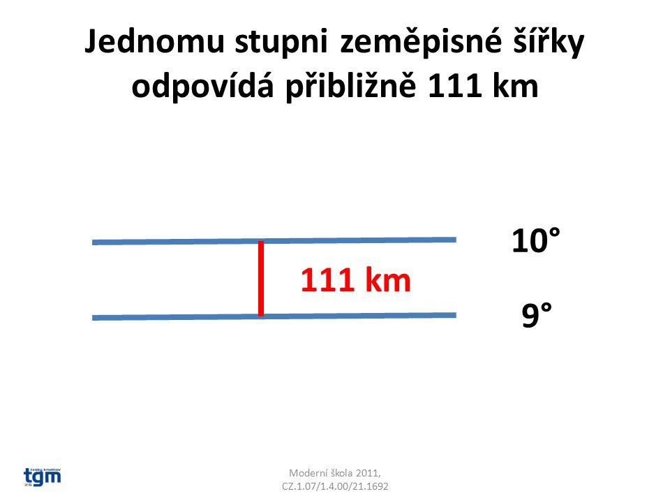 Jednomu stupni zeměpisné šířky odpovídá přibližně 111 km Moderní škola 2011, CZ.1.07/1.4.00/21.1692 10° 9° 111 km