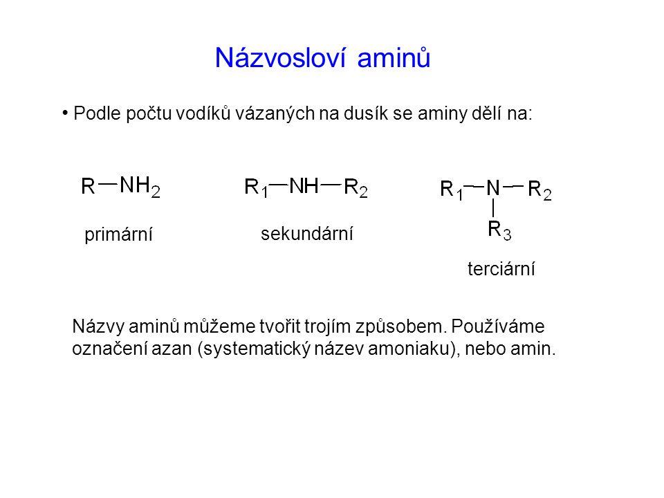 Názvosloví aminů Podle počtu vodíků vázaných na dusík se aminy dělí na: primární sekundární terciární Názvy aminů můžeme tvořit trojím způsobem.