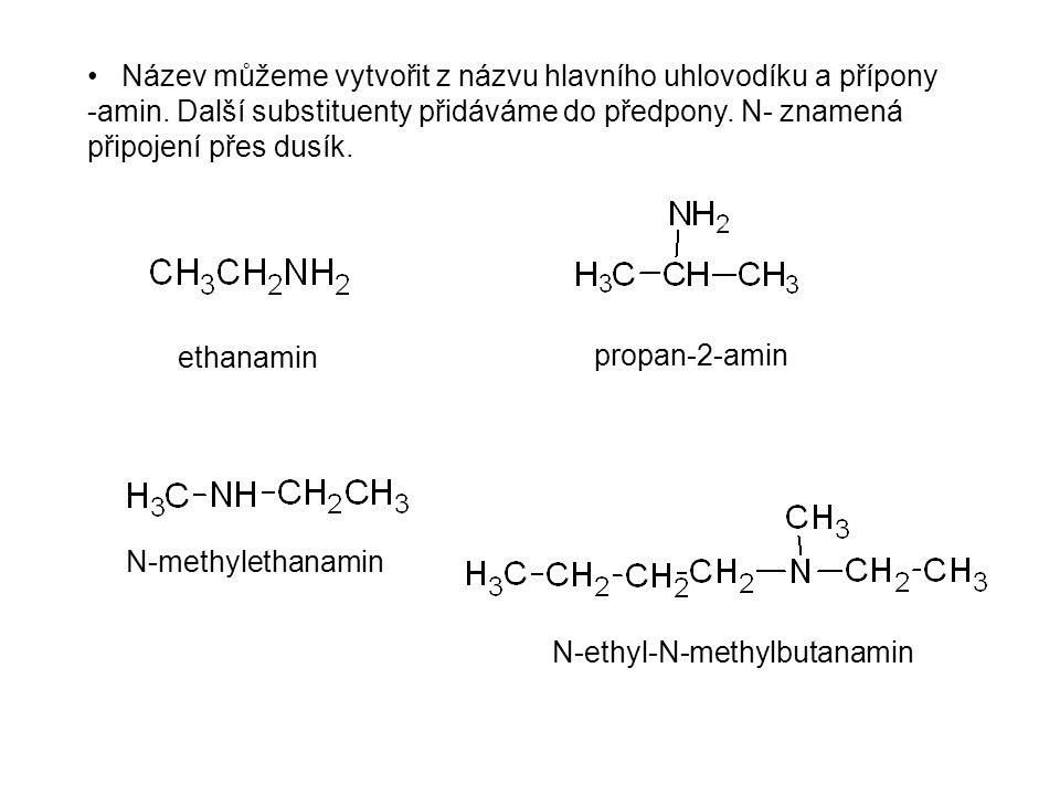 Název můžeme vytvořit z názvu hlavního uhlovodíku a přípony -amin.