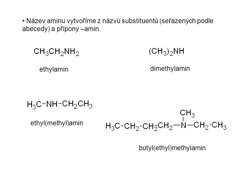 Název aminu vytvoříme z názvů substituentů (seřazených podle abecedy) a přípony –amin. ethylamin dimethylamin ethyl(methyl)amin butyl(ethyl)methylamin
