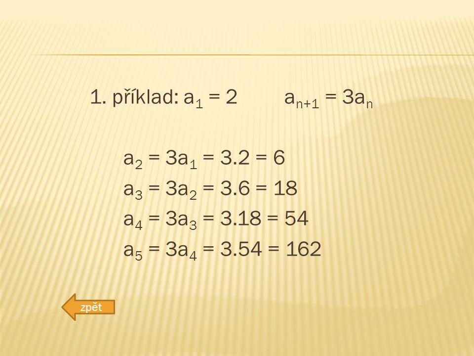 1. příklad: a 1 = 2 a n+1 = 3a n a 2 = 3a 1 = 3.2 = 6 a 3 = 3a 2 = 3.6 = 18 a 4 = 3a 3 = 3.18 = 54 a 5 = 3a 4 = 3.54 = 162 zpět