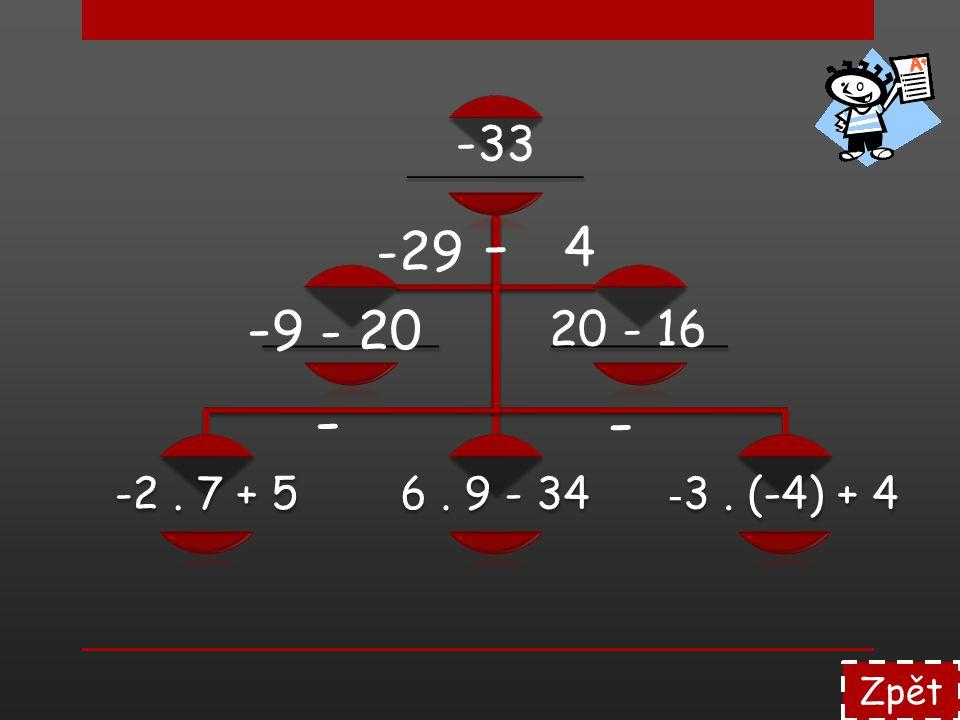 Zpět -4. 6 - 120 : (-12) - [8. (-9)] -21. 2 - 16 Výsledek