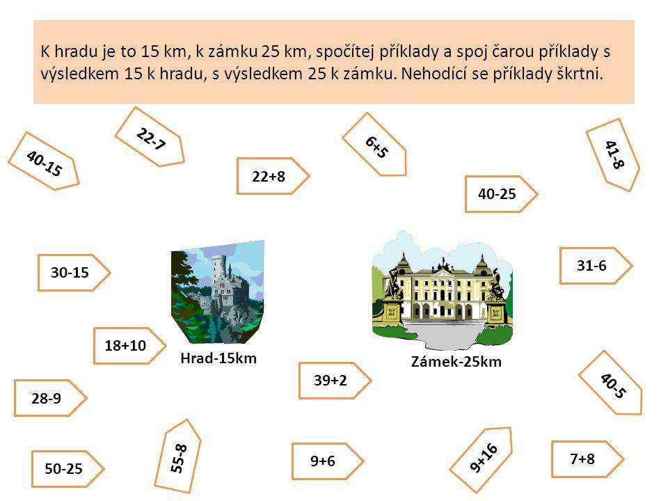 K hradu je to 15 km, k zámku 25 km, spočítej příklady a spoj čarou příklady s výsledkem 15 k hradu, s výsledkem 25 k zámku.