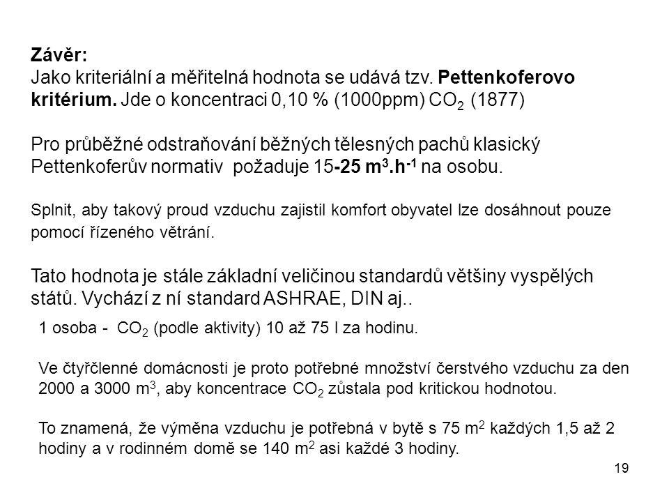 19 Závěr: Jako kriteriální a měřitelná hodnota se udává tzv. Pettenkoferovo kritérium. Jde o koncentraci 0,10 % (1000ppm) CO 2 (1877) Pro průběžné ods