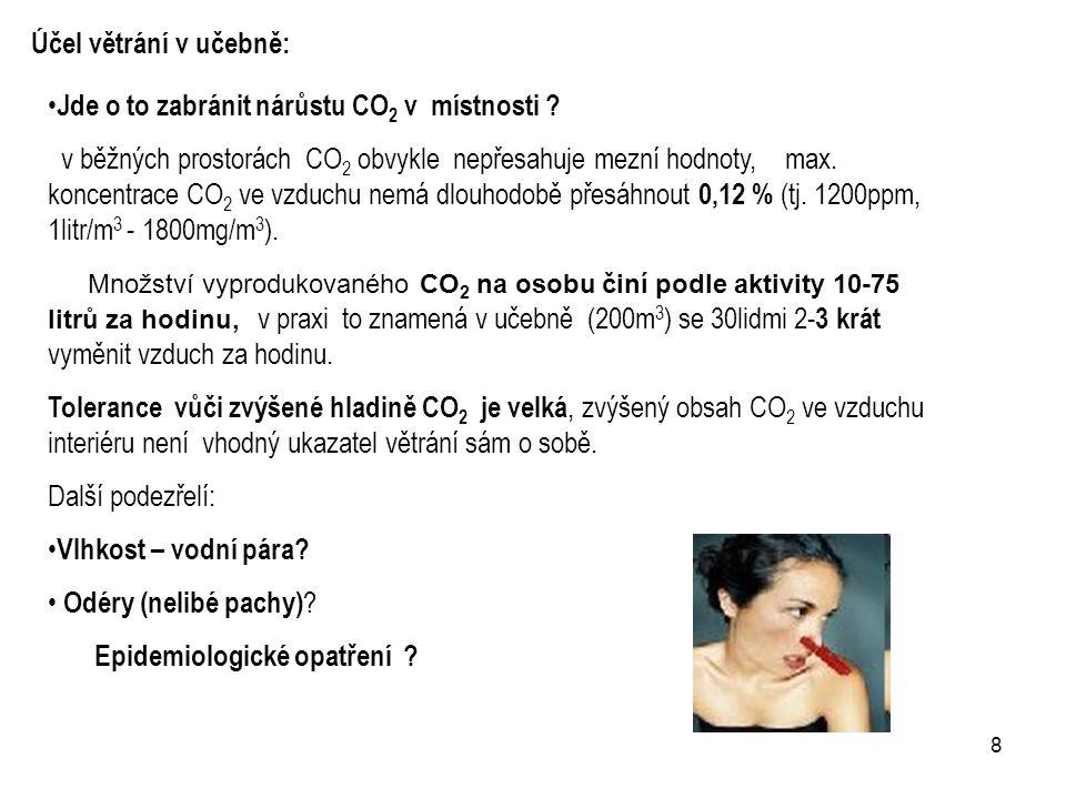 8 Jde o to zabránit nárůstu CO 2 v místnosti ? v běžných prostorách CO 2 obvykle nepřesahuje mezní hodnoty, max. koncentrace CO 2 ve vzduchu nemá dlou