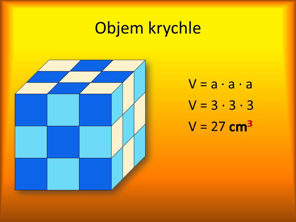 Objem krychle V = a ∙ a ∙ a V = 3 ∙ 3 ∙ 3 V = 27 cm 3 cm 3