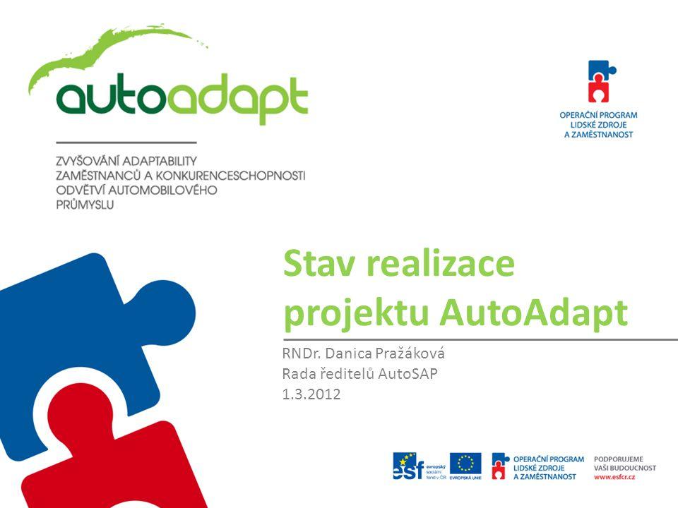 Stav realizace projektu AutoAdapt RNDr. Danica Pražáková Rada ředitelů AutoSAP 1.3.2012