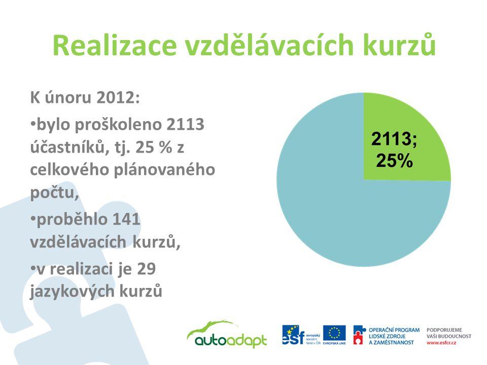 Realizace vzdělávacích kurzů K únoru 2012: bylo proškoleno 2113 účastníků, tj. 25 % z celkového plánovaného počtu, proběhlo 141 vzdělávacích kurzů, v