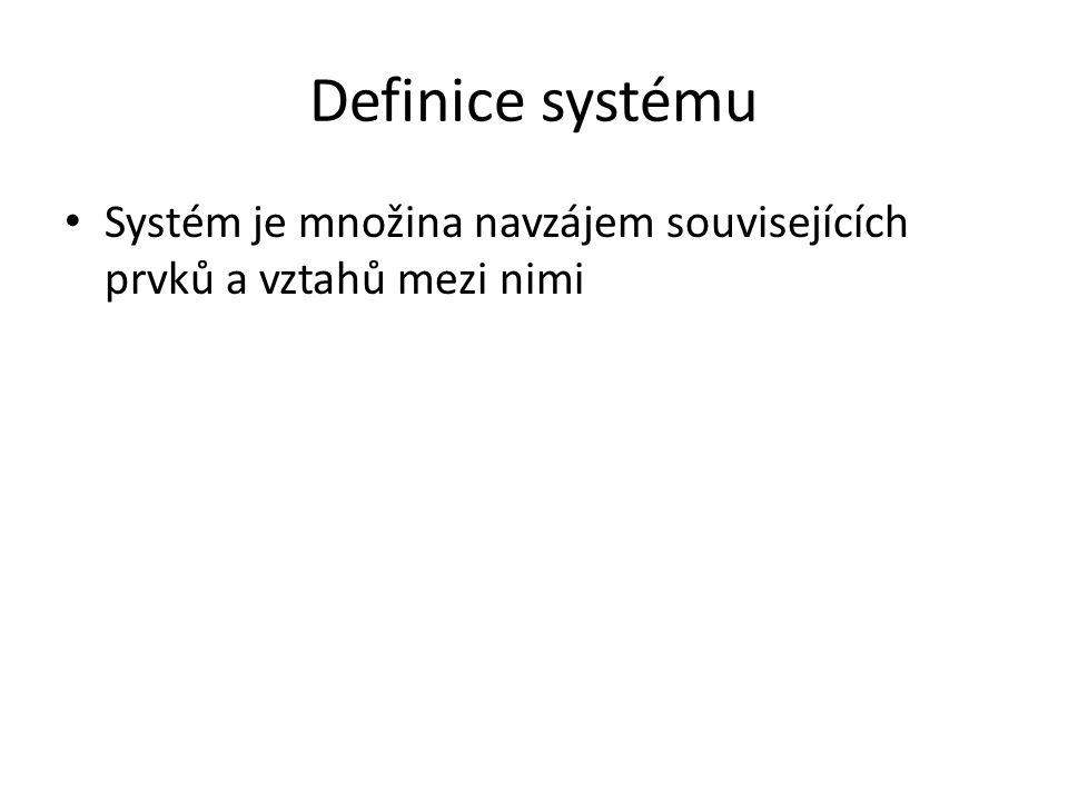Definice systému Systém je množina navzájem souvisejících prvků a vztahů mezi nimi