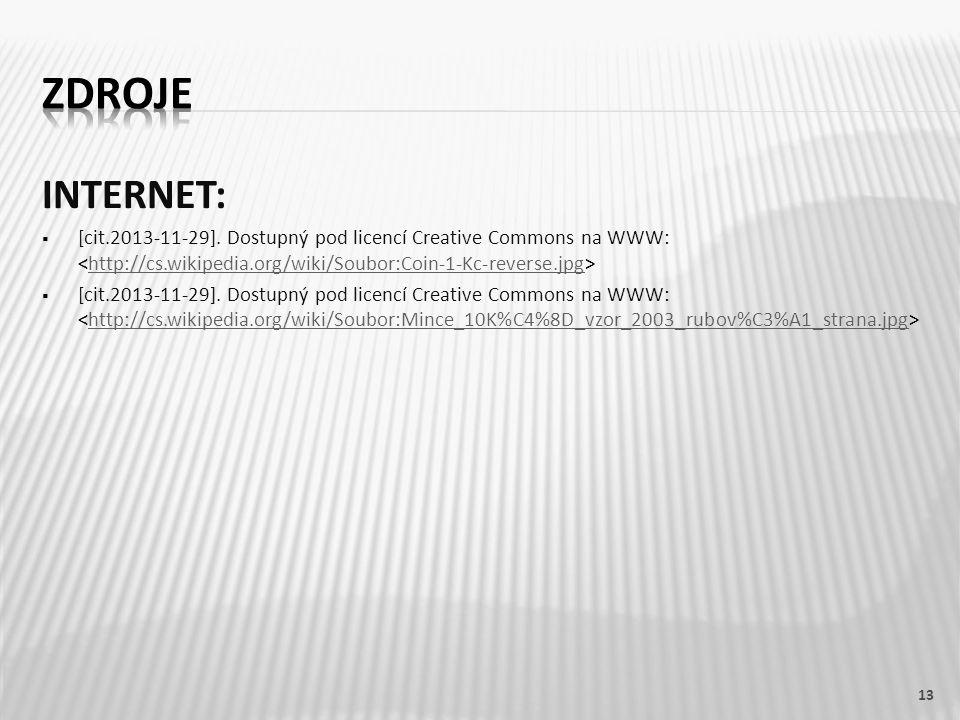 INTERNET:  [cit.2013-11-29]. Dostupný pod licencí Creative Commons na WWW: http://cs.wikipedia.org/wiki/Soubor:Coin-1-Kc-reverse.jpg  [cit.2013-11-2