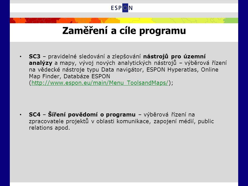 Zaměření a cíle programu SC3 – pravidelné sledování a zlepšování nástrojů pro územní analýzy a mapy, vývoj nových analytických nástrojů – výběrová řízení na vědecké nástroje typu Data navigátor, ESPON Hyperatlas, Online Map Finder, Databáze ESPON (http://www.espon.eu/main/Menu_ToolsandMaps/);http://www.espon.eu/main/Menu_ToolsandMaps/ SC4 – Šíření povědomí o programu – výběrová řízení na zpracovatele projektů v oblasti komunikace, zapojení médií, public relations apod.