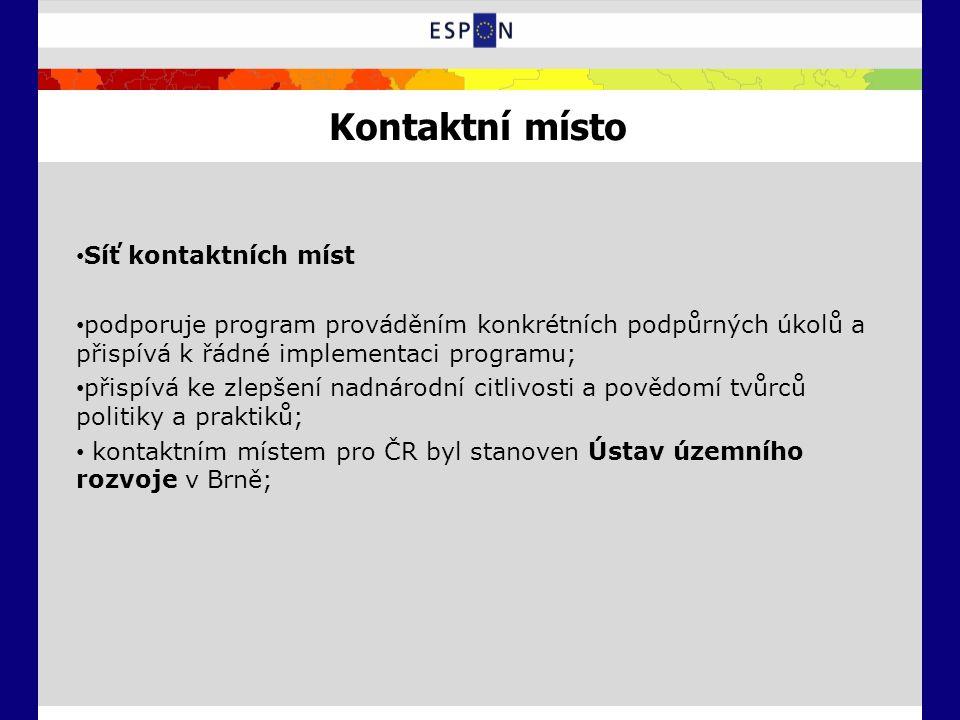 Kontaktní místo Síť kontaktních míst podporuje program prováděním konkrétních podpůrných úkolů a přispívá k řádné implementaci programu; přispívá ke zlepšení nadnárodní citlivosti a povědomí tvůrců politiky a praktiků; kontaktním místem pro ČR byl stanoven Ústav územního rozvoje v Brně;