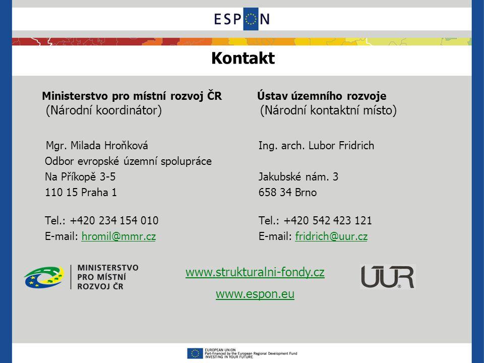Kontakt Ministerstvo pro místní rozvoj ČR Ústav územního rozvoje (Národní koordinátor) (Národní kontaktní místo) Mgr.