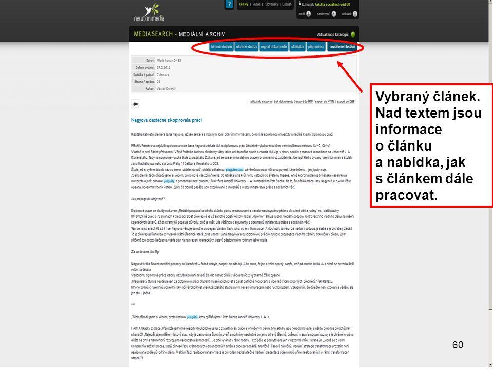 60 Vybraný článek. Nad textem jsou informace o článku a nabídka, jak s článkem dále pracovat. 60