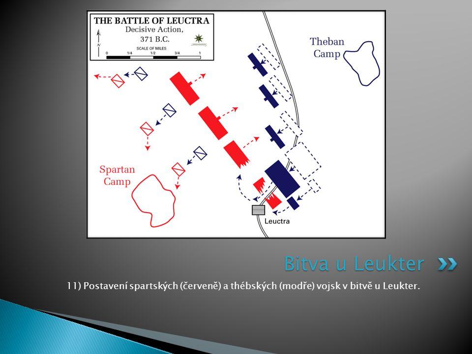 11) Postavení spartských (červeně) a thébských (modře) vojsk v bitvě u Leukter. Bitva u Leukter
