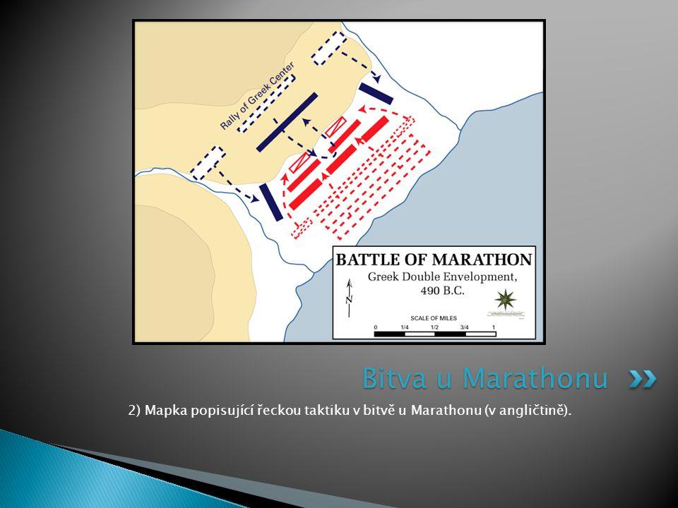 2) Mapka popisující řeckou taktiku v bitvě u Marathonu (v angličtině). Bitva u Marathonu